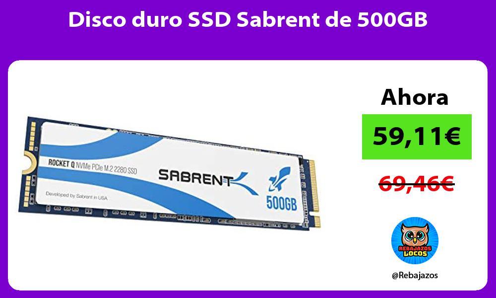 Disco duro SSD Sabrent de 500GB