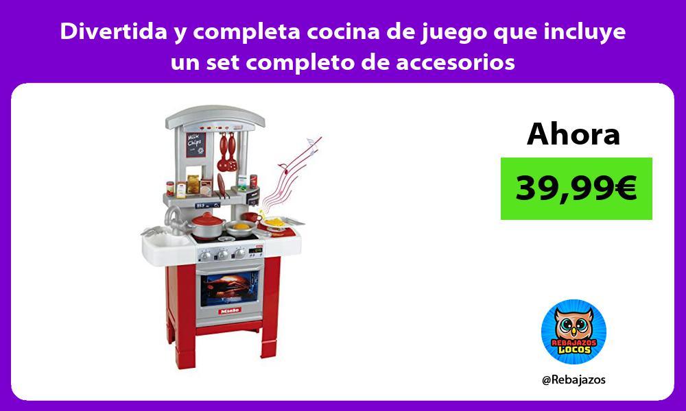 Divertida y completa cocina de juego que incluye un set completo de accesorios