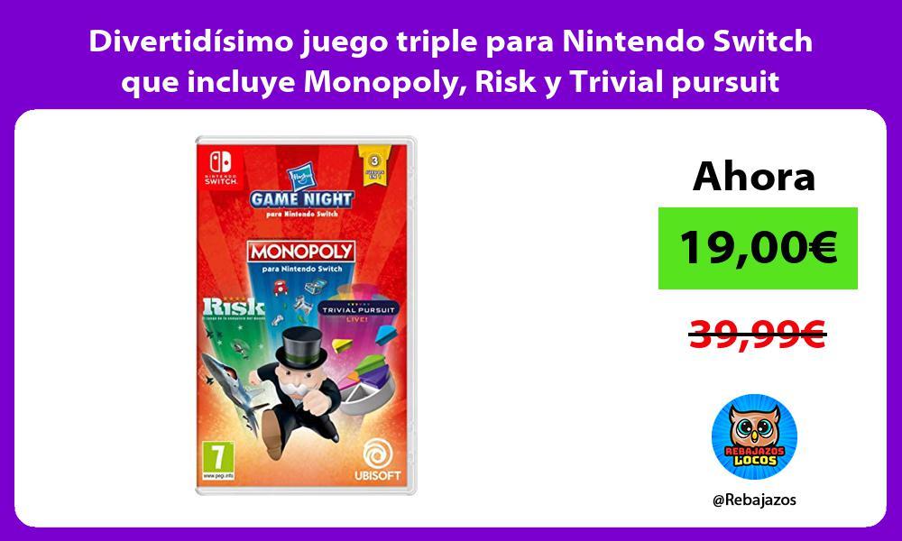 Divertidisimo juego triple para Nintendo Switch que incluye Monopoly Risk y Trivial pursuit