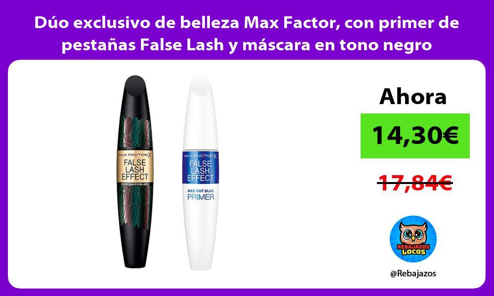 Duo exclusivo de belleza Max Factor con primer de pestanas False Lash y mascara en tono negro