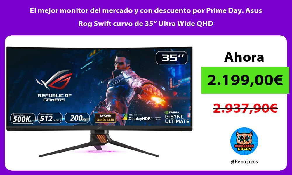 El mejor monitor del mercado y con descuento por Prime Day Asus Rog Swift curvo de 35 Ultra Wide QHD