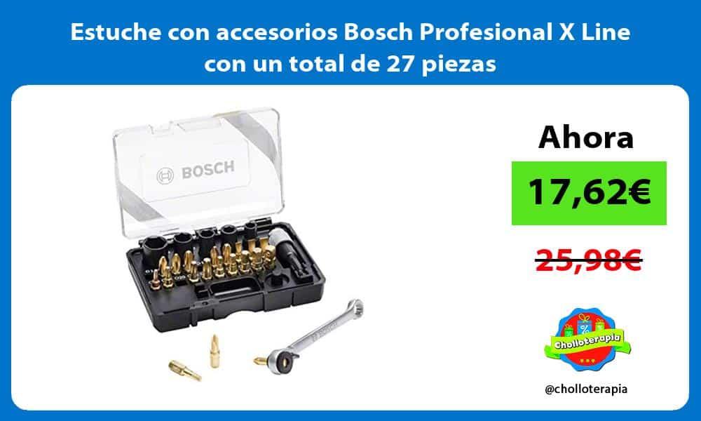 Estuche con accesorios Bosch Profesional X Line con un total de 27 piezas