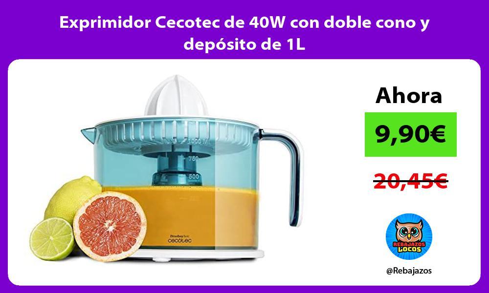 Exprimidor Cecotec de 40W con doble cono y deposito de 1L