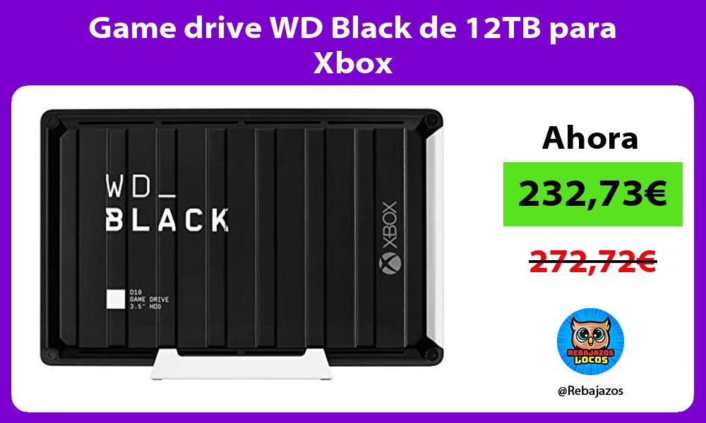 Game drive WD Black de 12TB para Xbox
