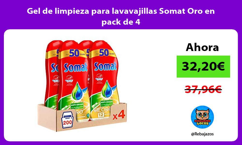 Gel de limpieza para lavavajillas Somat Oro en pack de 4