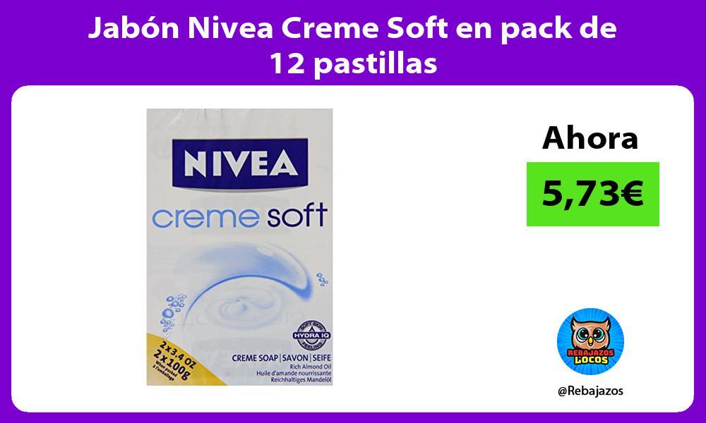 Jabon Nivea Creme Soft en pack de 12 pastillas
