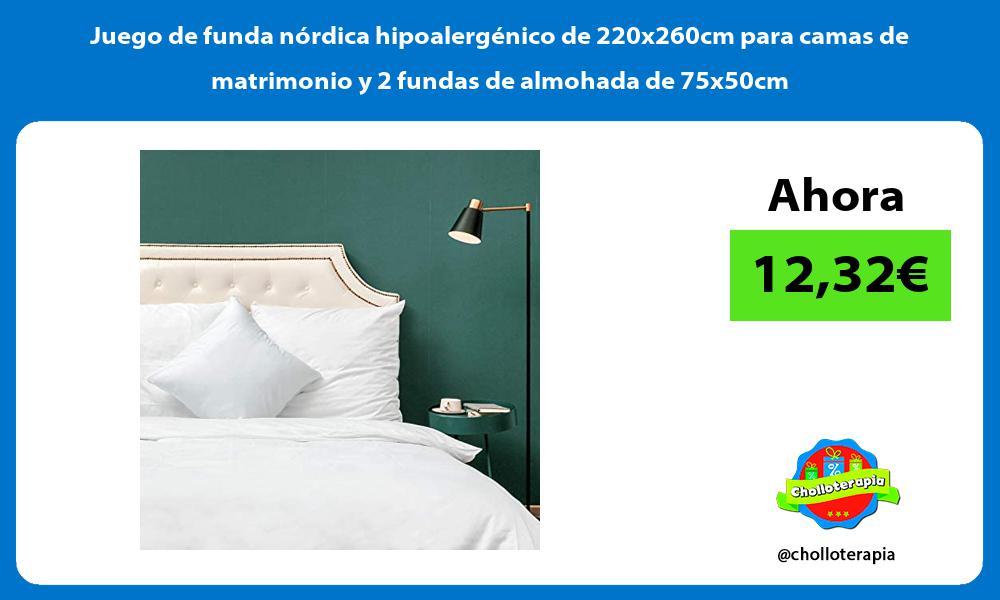 Juego de funda nordica hipoalergenico de 220x260cm para camas de matrimonio y 2 fundas de almohada de 75x50cm