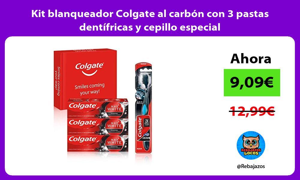 Kit blanqueador Colgate al carbon con 3 pastas dentifricas y cepillo especial