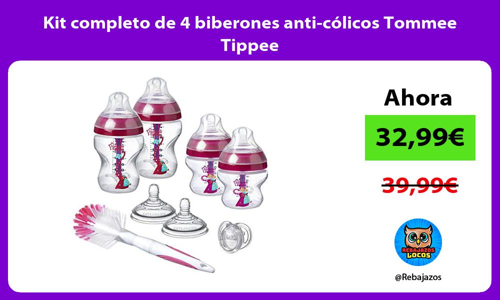 Kit completo de 4 biberones anti colicos Tommee Tippee