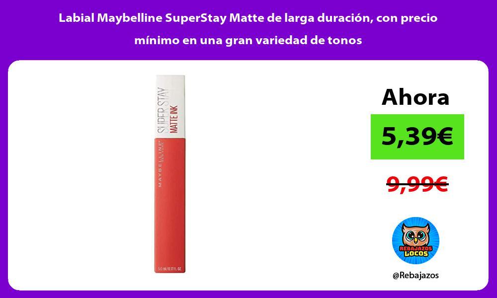 Labial Maybelline SuperStay Matte de larga duracion con precio minimo en una gran variedad de tonos