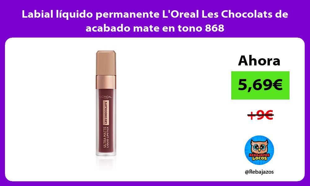 Labial liquido permanente LOreal Les Chocolats de acabado mate en tono 868