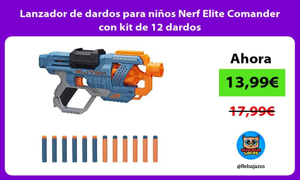 Lanzador de dardos para ninos Nerf Elite Comander con kit de 12 dardos