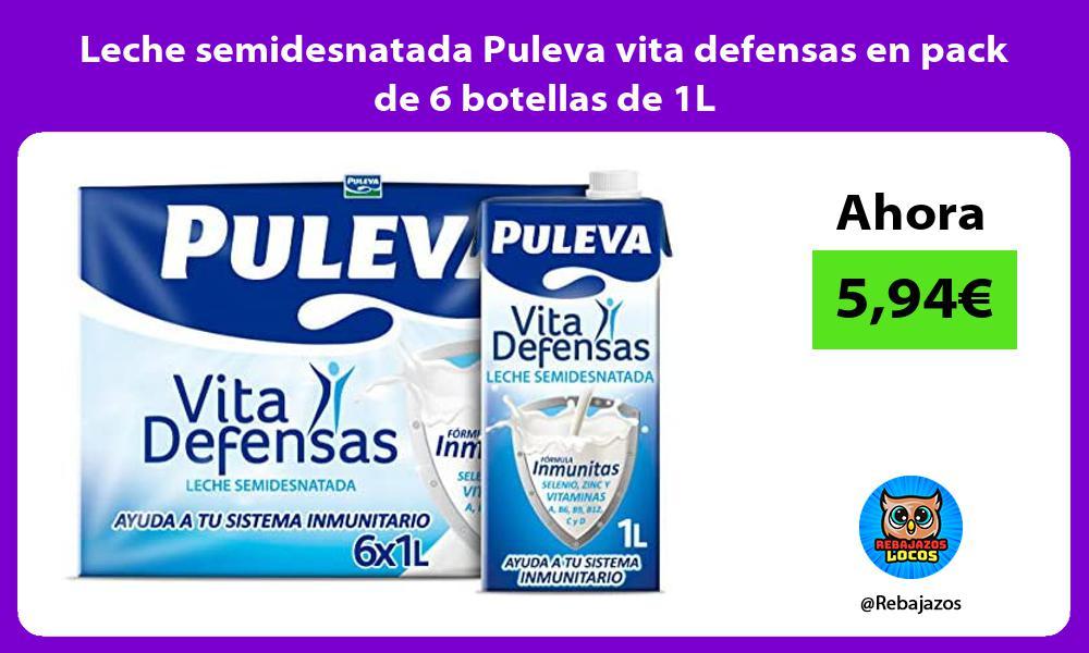 Leche semidesnatada Puleva vita defensas en pack de 6 botellas de 1L