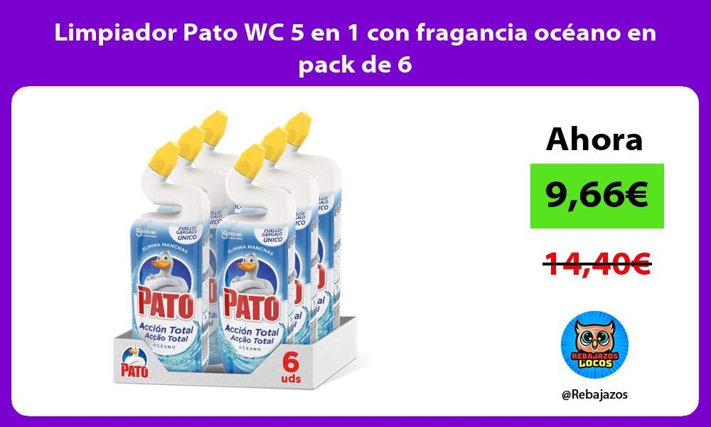Limpiador Pato WC 5 en 1 con fragancia oceano en pack de 6