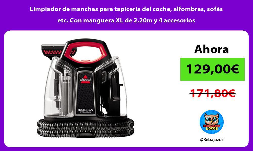 Limpiador de manchas para tapiceria del coche alfombras sofas etc Con manguera XL de 2 20m y 4 accesorios