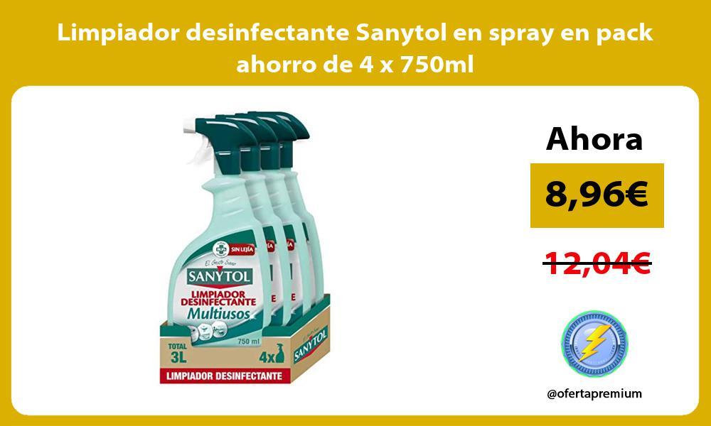 Limpiador desinfectante Sanytol en spray en pack ahorro de 4 x 750ml