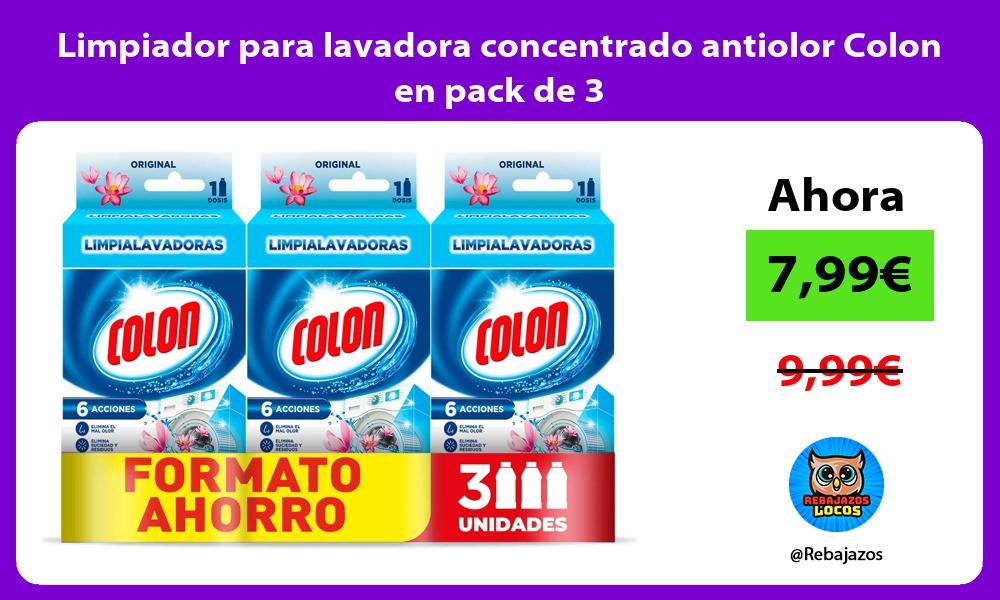 Limpiador para lavadora concentrado antiolor Colon en pack de 3