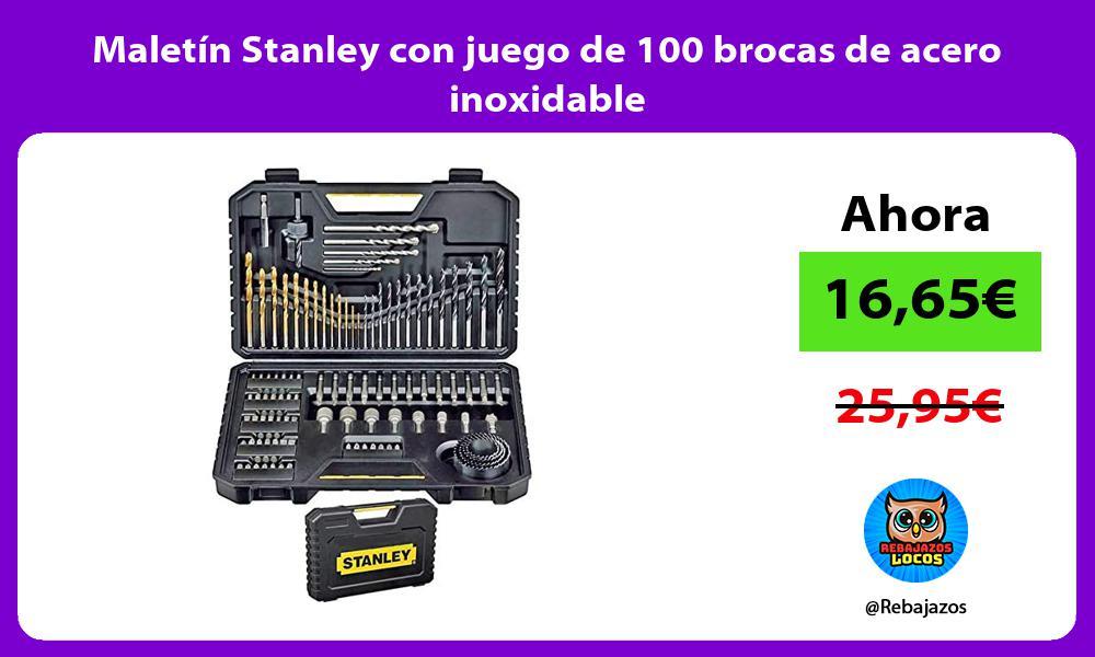 Maletin Stanley con juego de 100 brocas de acero inoxidable