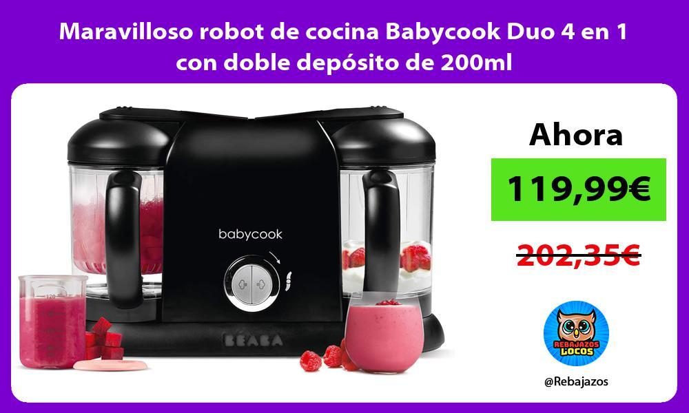 Maravilloso robot de cocina Babycook Duo 4 en 1 con doble deposito de 200ml