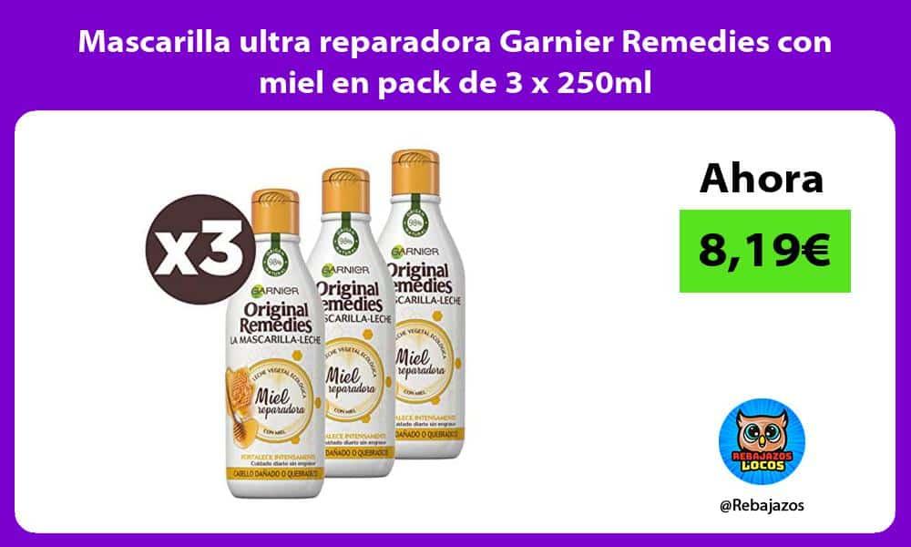 Mascarilla ultra reparadora Garnier Remedies con miel en pack de 3 x 250ml