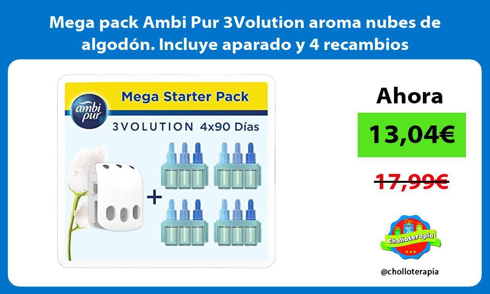Mega pack Ambi Pur 3Volution aroma nubes de algodon Incluye aparado y 4 recambios