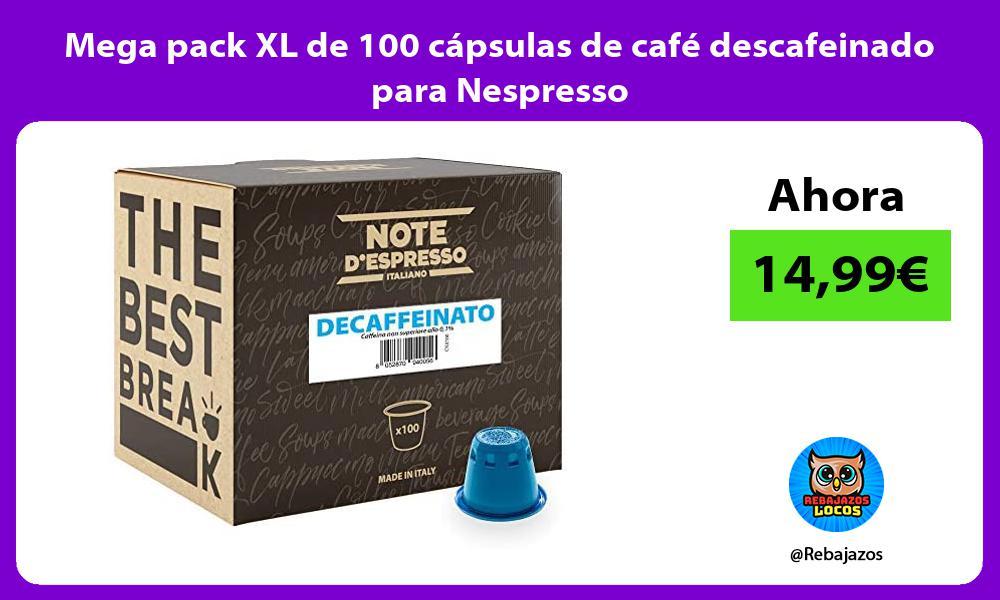 Mega pack XL de 100 capsulas de cafe descafeinado para Nespresso