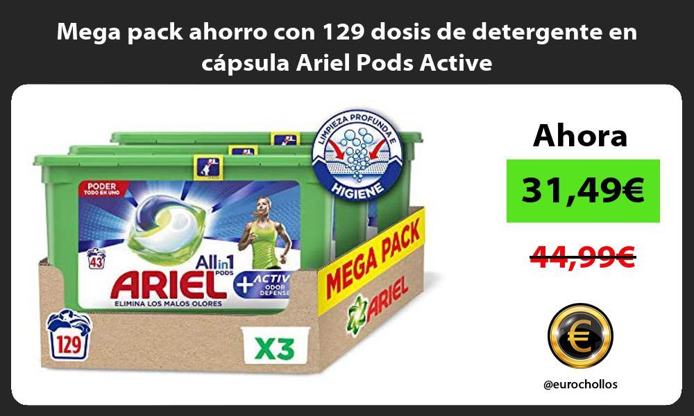 Mega pack ahorro con 129 dosis de detergente en capsula Ariel Pods Active