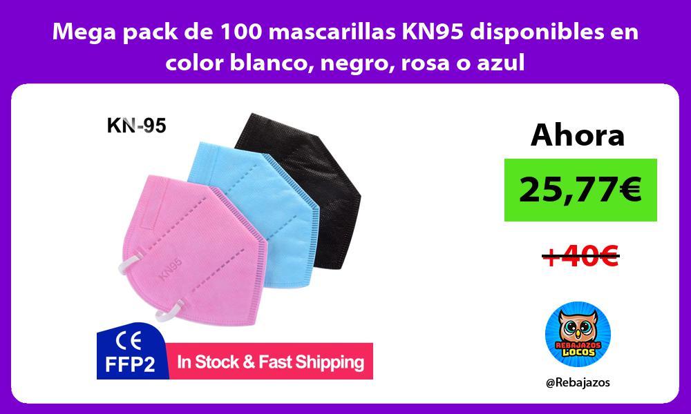 Mega pack de 100 mascarillas KN95 disponibles en color blanco negro rosa o azul