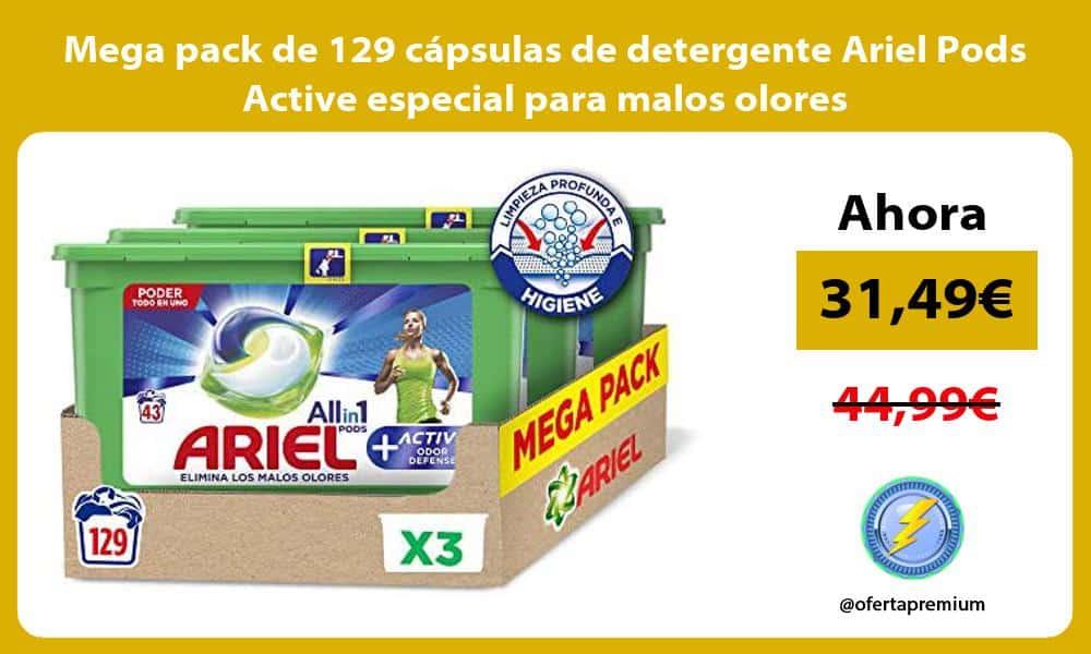 Mega pack de 129 capsulas de detergente Ariel Pods Active especial para malos olores