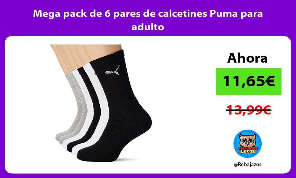 Mega pack de 6 pares de calcetines Puma para adulto