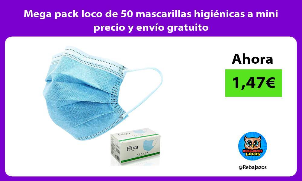 Mega pack loco de 50 mascarillas higienicas a mini precio y envio gratuito