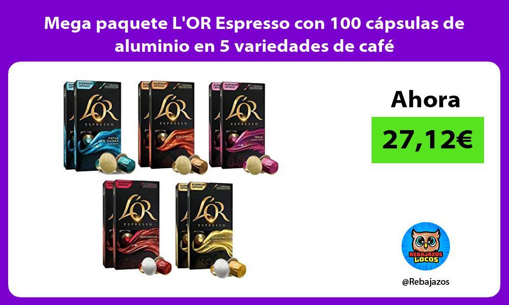 Mega paquete LOR Espresso con 100 capsulas de aluminio en 5 variedades de cafe