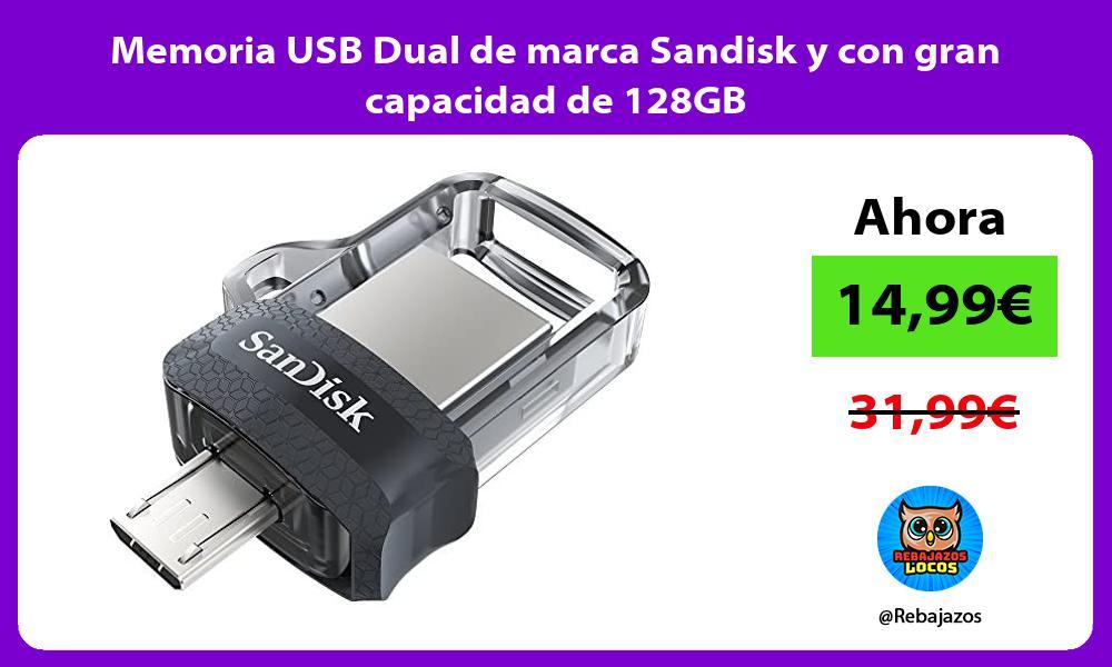 Memoria USB Dual de marca Sandisk y con gran capacidad de 128GB