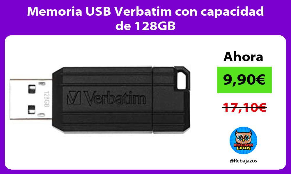 Memoria USB Verbatim con capacidad de 128GB