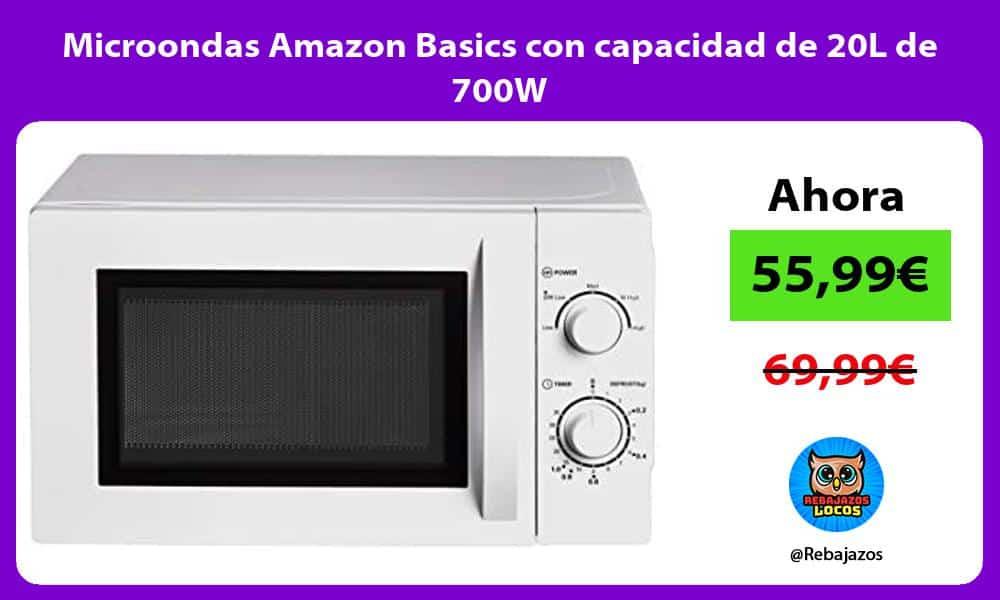Microondas Amazon Basics con capacidad de 20L de 700W