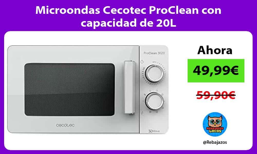 Microondas Cecotec ProClean con capacidad de 20L