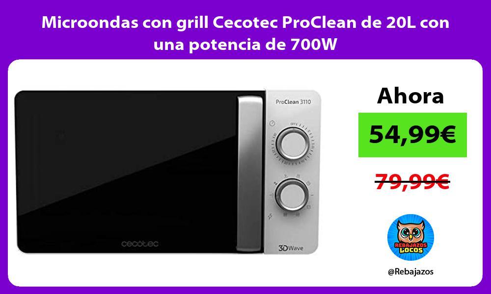 Microondas con grill Cecotec ProClean de 20L con una potencia de 700W