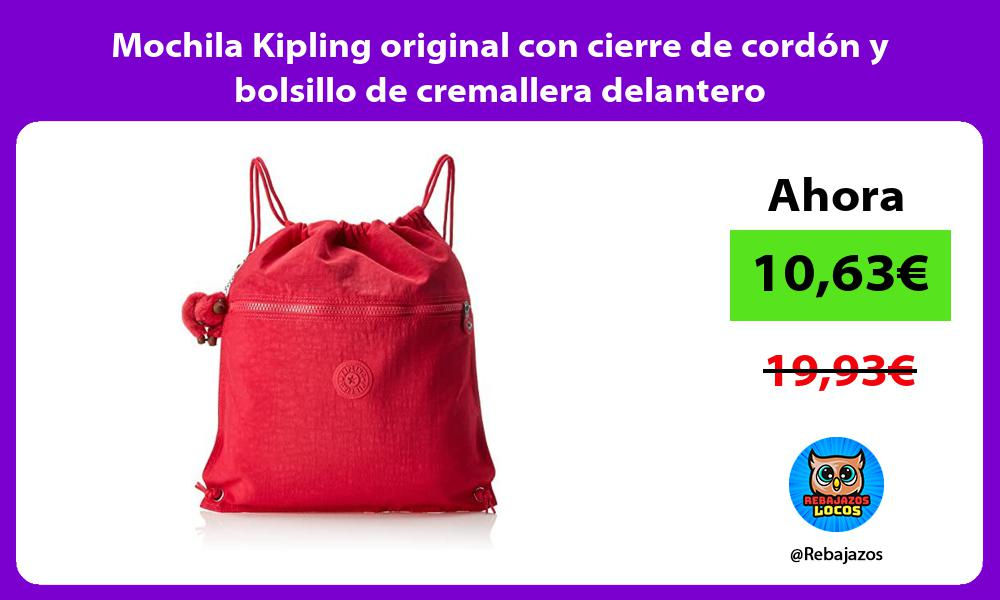Mochila Kipling original con cierre de cordon y bolsillo de cremallera delantero