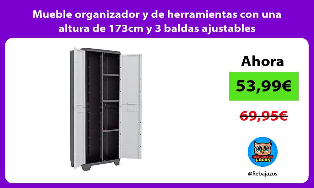 Mueble organizador y de herramientas con una altura de 173cm y 3 baldas ajustables