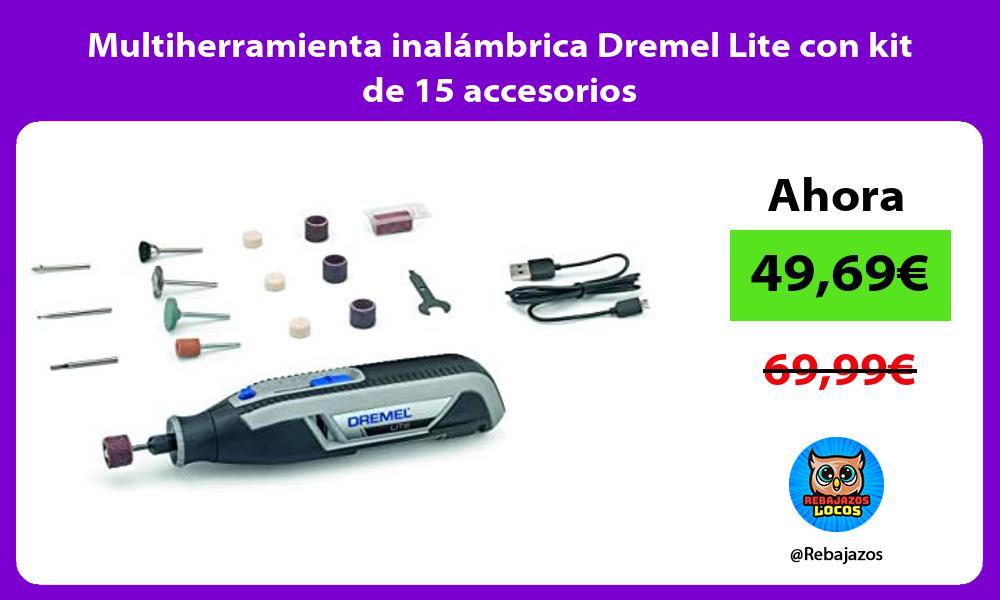 Multiherramienta inalambrica Dremel Lite con kit de 15 accesorios