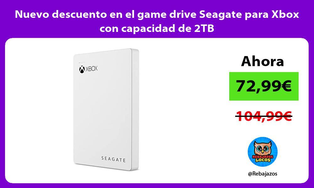 Nuevo descuento en el game drive Seagate para Xbox con capacidad de 2TB