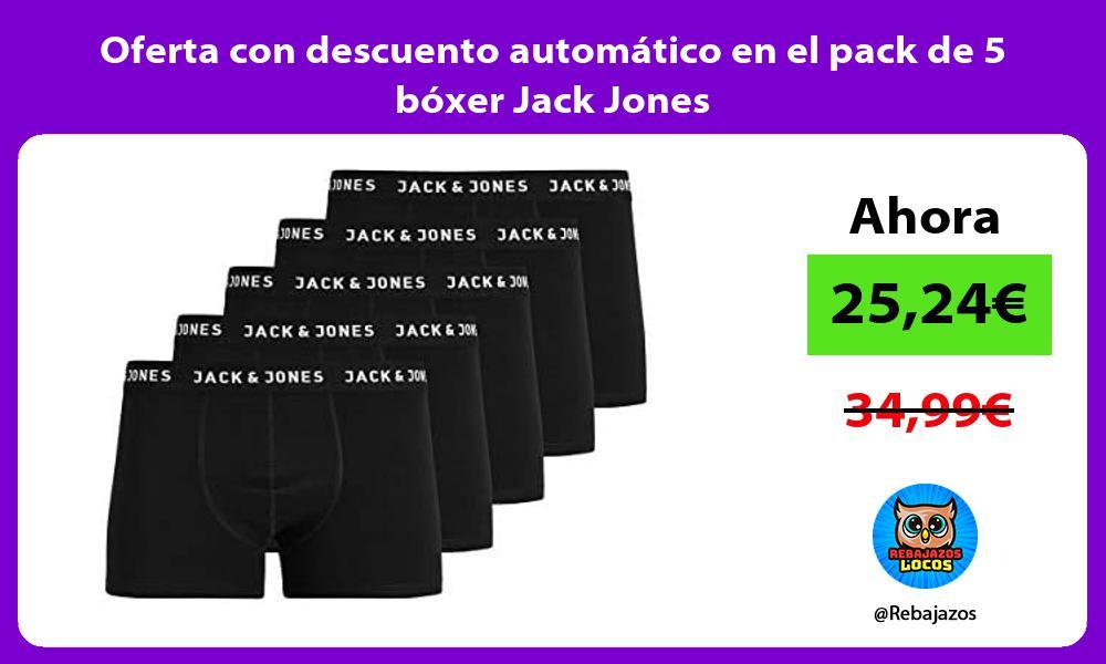 Oferta con descuento automatico en el pack de 5 boxer Jack Jones