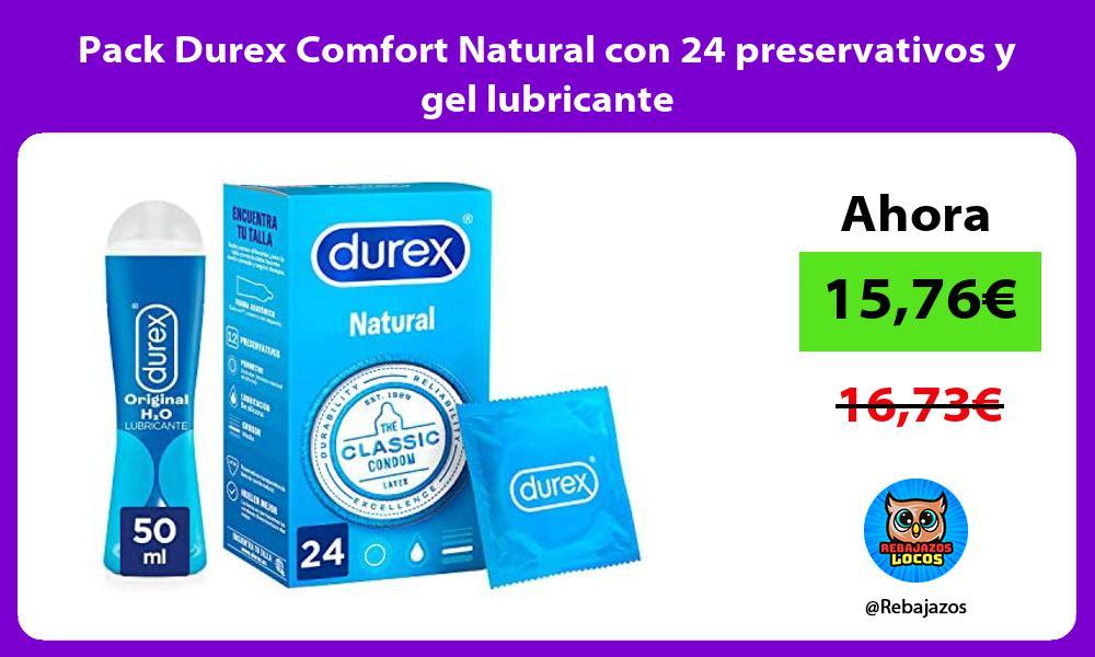 Pack Durex Comfort Natural con 24 preservativos y gel lubricante
