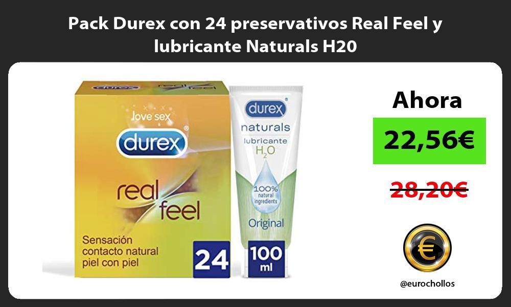 Pack Durex con 24 preservativos Real Feel y lubricante Naturals H20
