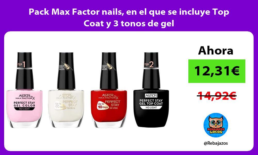 Pack Max Factor nails en el que se incluye Top Coat y 3 tonos de gel