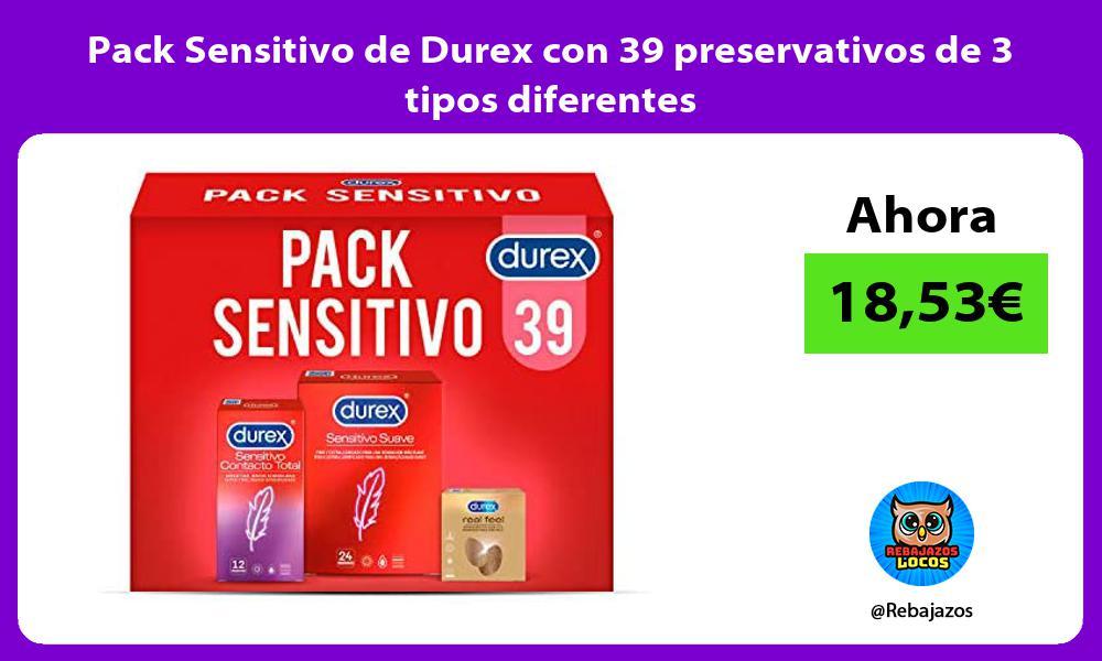 Pack Sensitivo de Durex con 39 preservativos de 3 tipos diferentes