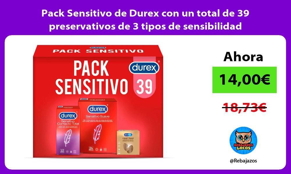 Pack Sensitivo de Durex con un total de 39 preservativos de 3 tipos de sensibilidad