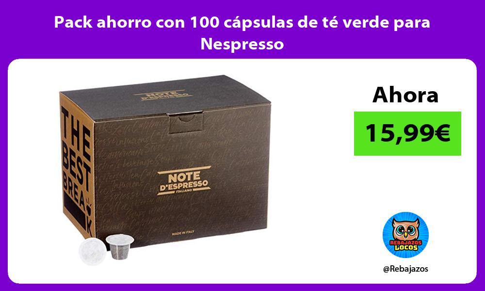Pack ahorro con 100 capsulas de te verde para Nespresso