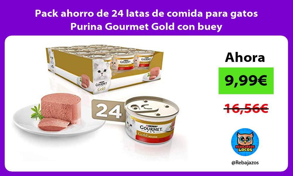 Pack ahorro de 24 latas de comida para gatos Purina Gourmet Gold con buey