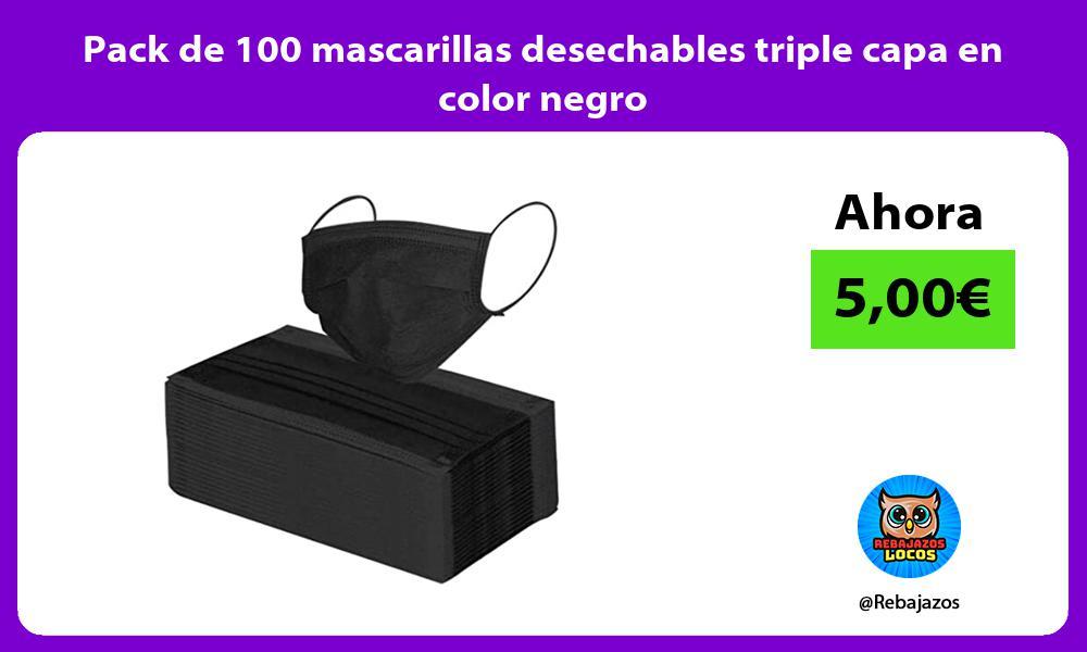 Pack de 100 mascarillas desechables triple capa en color negro
